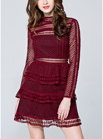 Lace With Lace/Stitching/Pierced/Ruffles/See-through Look Above Knee Dress