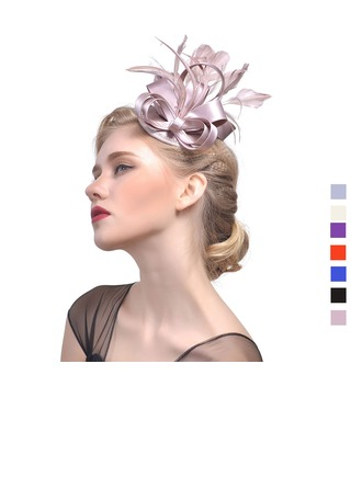 Dames Style Vintage Batiste avec Feather Chapeaux de type fascinator