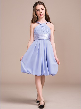 A-Line/Princess V-neck Knee-Length Chiffon Junior Bridesmaid Dress With Ruffle