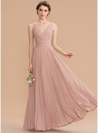 V-neck Floor-Length Chiffon Lace Bridesmaid Dress With Pleated