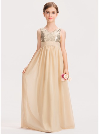 V-neck Floor-Length Chiffon Sequined Junior Bridesmaid Dress With Ruffle