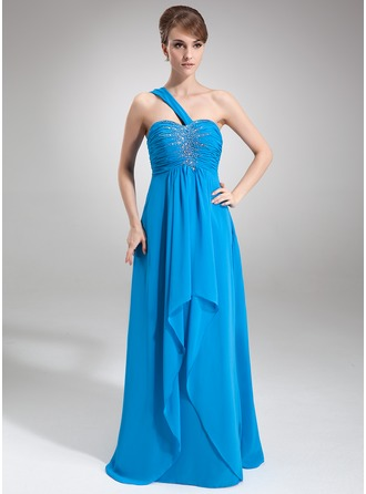 Empire One-Shoulder Floor-Length Chiffon Prom Dress With Beading Cascading Ruffles
