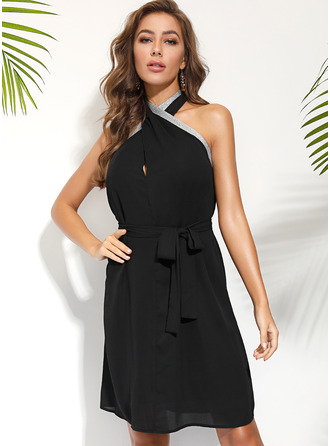Polyester With Beaded Midi Dress