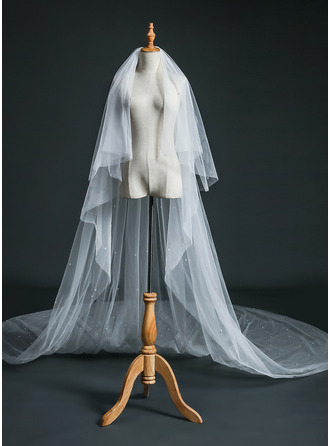 Two-tier Cut Edge Cathedral Bridal Veils With Faux Pearl