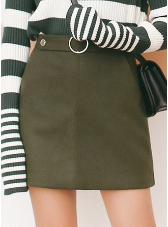 A-Line Skirts Above Knee Plain Woollen Skirts
