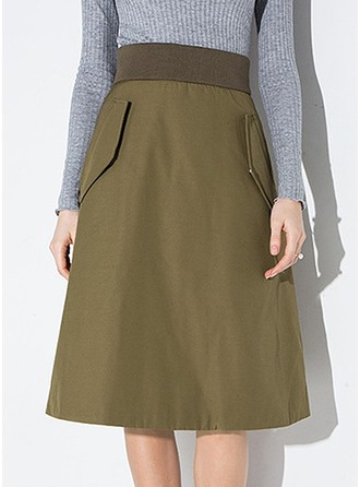 A-Line Skirts Knee Length Plain Polyester Skirts