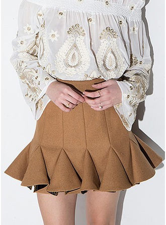 A-Line Skirts Mini Plain Polyester Skirts