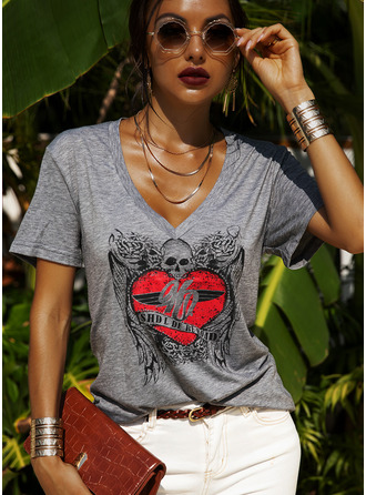 Regular Cotton Blends V-Neck Figure Print Heart Fitted Blouses