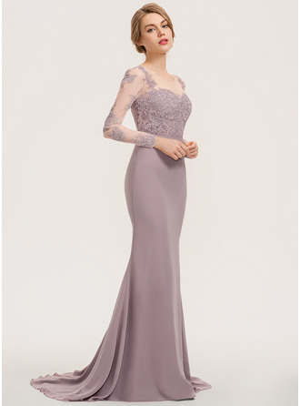 Trumpet/Mermaid Scoop Neck Sweep Train Chiffon Lace Prom Dresses