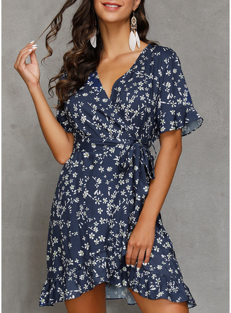 Floral Print A-line V-Neck Short Sleeves Midi Casual Skater Dresses