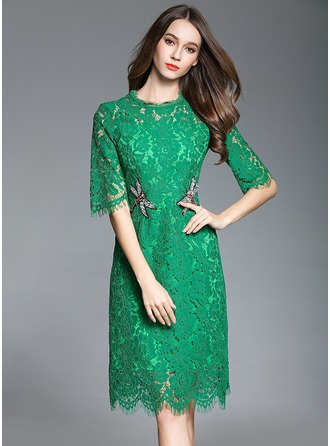 Lace With Beaded Knee Length Dress