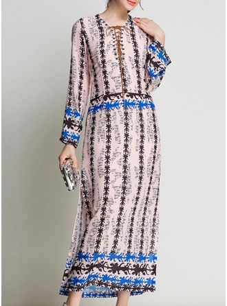 Chiffon With Stitching/Print Maxi Dress