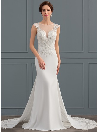 Trumpet/Mermaid Scoop Neck Chapel Train Satin Wedding Dress With Sequins