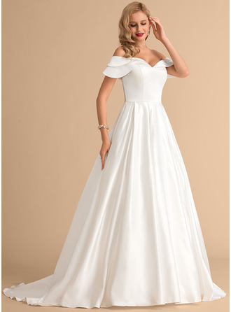 Off-the-Shoulder Court Train Satin Wedding Dress