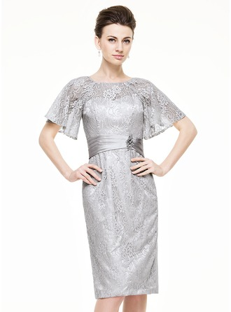 Sheath/Column Scoop Neck Knee-Length Lace Mother of the Bride Dress With Ruffle Beading Sequins