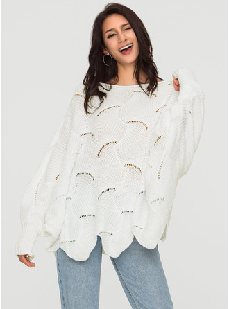 Plain Polyester Round Neck Sweater Kazak