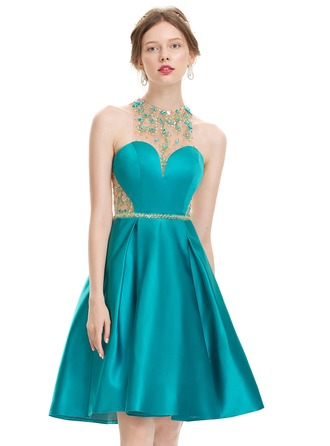 A-Line/Princess Scoop Neck Knee-Length Satin Prom Dress With Beading Sequins