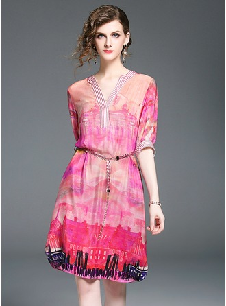 Silk With Print/Embroidery Knee Length Dress