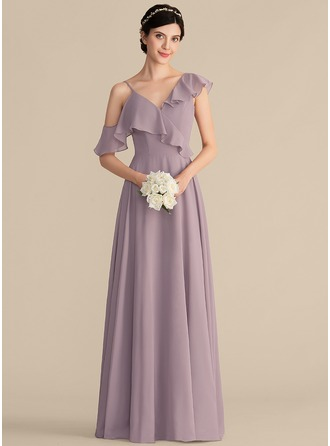 V-neck Floor-Length Chiffon Prom Dresses With Cascading Ruffles