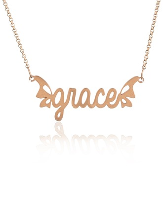 Custom 18k Rose Gold Plated Silver Name Necklace With Butterfly