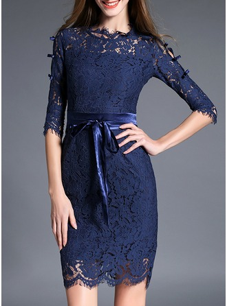 Lace With Print/Hollow Above Knee Dress