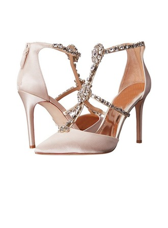 Women's Satin Stiletto Heel Closed Toe Sandals Beach Wedding Shoes With Rhinestone