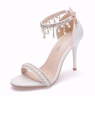 Women's Leatherette Stiletto Heel Peep Toe Platform Sandals With Beading Imitation Pearl Tassel