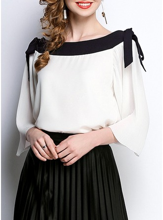 Chiffon Boat Neck Patchwork 1/2 Sleeves Casual Blouses