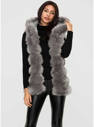 Faux Fur Sleeveless Plain Vest Coats