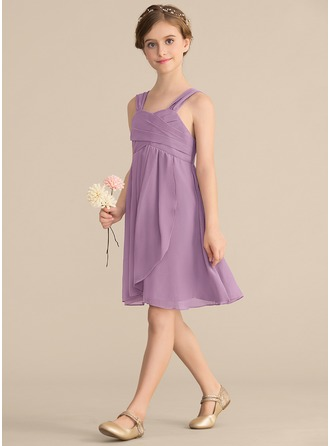 Sweetheart Knee-Length Chiffon Junior Bridesmaid Dress With Ruffle