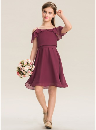 Off-the-Shoulder Knee-Length Chiffon Junior Bridesmaid Dress With Bow(s) Cascading Ruffles