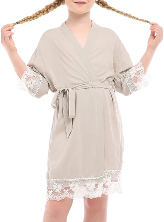 Polyester Flower Girl Blank Robes Lace Robes