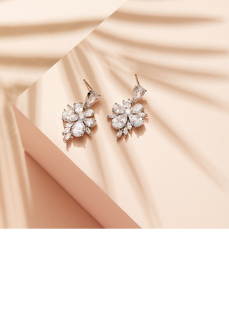 Non-personalized Ladies' Beautiful Copper/Zircon Earrings For Her