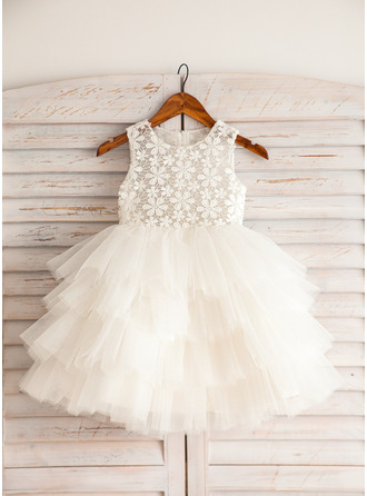 Empire Knee-length Flower Girl Dress - Satin Lace Cotton Sleeveless Scoop Neck