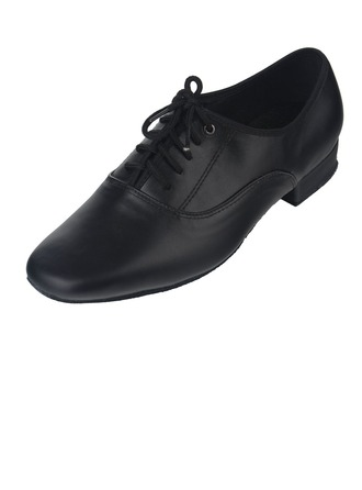 Men's Real Leather Heels Latin Modern Ballroom With Lace-up Dance Shoes