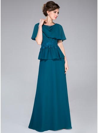 Cowl Neck Floor-Length Chiffon Mother of the Bride Dress