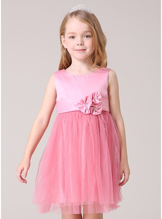 A-Line/Princess Short/Mini Flower Girl Dress - Tulle/Polyester Sleeveless Scoop Neck