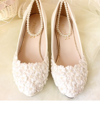 Women's Patent Leather Low Heel Closed Toe Pumps With Imitation Pearl Applique