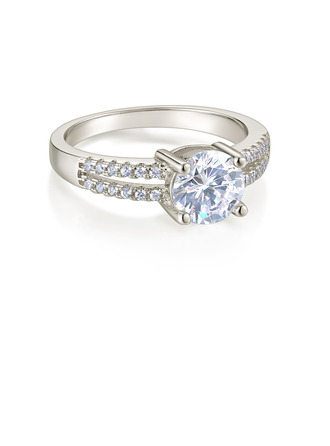 Sterling Silver Cubic Zirconia Dainty Split Shank Round Cut Engagement Rings Promise Rings -