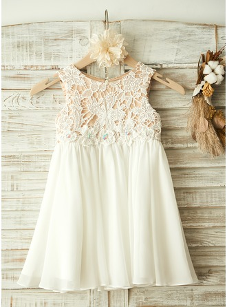 A-Line/Princess Knee-length Flower Girl Dress - Chiffon/Lace Sleeveless Scoop Neck With Appliques/Rhinestone