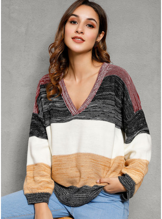 Color Block Cotton Blends V-neck Pullovers Sweaters