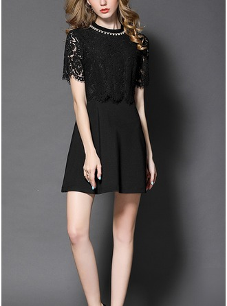 Lace With Resin solid color Above Knee Dress