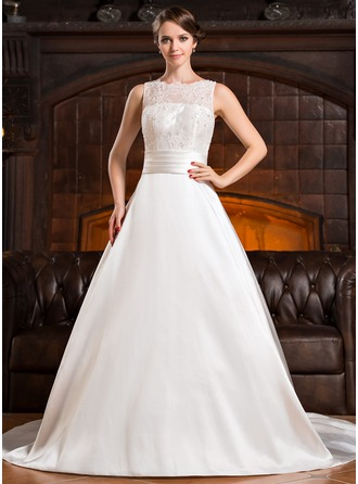 A-Line/Princess Scoop Neck Chapel Train Satin Lace Wedding Dress With Ruffle Beading Sequins Bow(s)