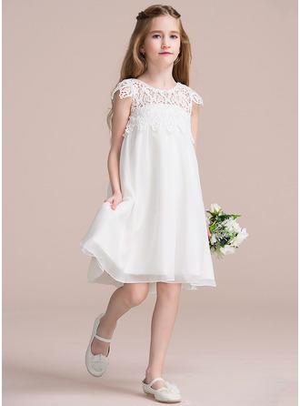 Empírový Po kolena Flower Girl Dress - Šifón Krajka Bez rukávů Scoop Neck