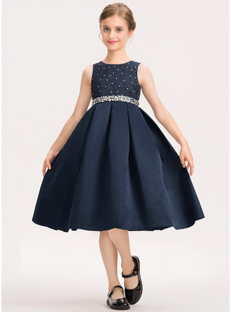 Scoop Neck Knee-Length Satin Lace Junior Bridesmaid Dress With Beading Bow(s)