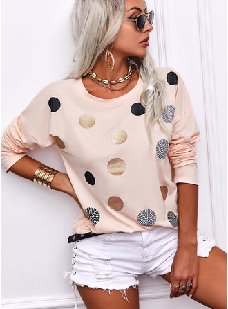 Regular Cotton Blends Round Neck PolkaDot Fitted Blouses