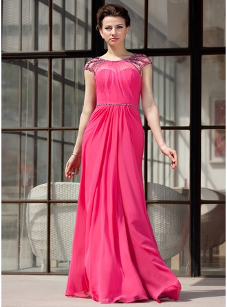 A-Line/Princess Scoop Neck Floor-Length Chiffon Evening Dress With Ruffle Beading