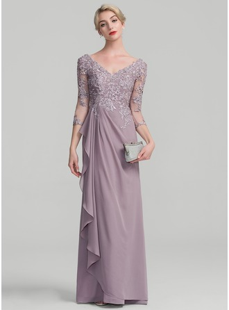 A-Line V-neck Floor-Length Chiffon Lace Evening Dress With Beading Sequins Cascading Ruffles