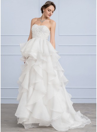 A-Line/Princess Sweetheart Sweep Train Organza Lace Wedding Dress