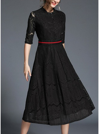 Polyester With Lace/Stitching Midi Dress